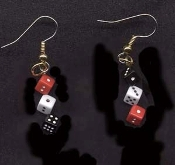 Funky Mini DICE EARRINGS - Miniature Lucky Pair Casino Craps Game Las Vegas Gambling Lucky Charm Novelty Costume Jewelry - Tiny RED BLACK and WHITE Acrylic Solid Plastic Mismatched (Opposite) Charm Beads. Mama, Daddy, Baby needs a new pair of shoes!