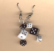 Mini DICE EARRINGS - Miniature Lucky Pair Casino Craps Game Player Las Vegas Gambling Lucky Charm Novelty Costume Jewelry - Tiny BLACK and WHITE Acrylic Solid Plastic Mismatched Opposite Charm Beads. Mama, Daddy, Baby needs a new pair of shoes!