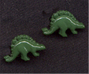 Small STEGOSAURUS BUTTON EARRINGS - Dinosaur Charm -GREEN