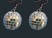 HUGE Dazzling Genuine Glass Mini DISCO MIRROR BALL EARRINGS - Novelty Dance Club Retro DJ Jewelry - BIG Funky realistic, punk EMO silver mirrored sphere charm, approx. 1-inch (2.5cm) diameter. Great for New Year's Eve or Dancing with the Stars fans!