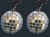 HUGE Genuine Glass Mini GIANT DISCO BALL EARRINGS - Novelty Dance Club Retro DJ Jewelry - BIG Funky realistic, punk EMO silver mirrored sphere charm, approx. 1-1/2-inch (4cm) diameter. Great for any party celebration