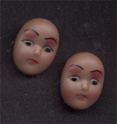 DOLL FACE BUTTON EARRINGS - Mini Girl Woman Toy Charm Jewelry -TAN