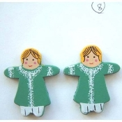 Irish Lassie DOLL GREEN DRESS BUTTON EARRINGS - St Patrick's Day Painted Wood Christmas Jewelry