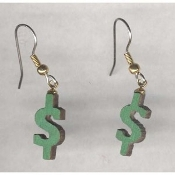 Funky Green DOLLAR SIGN EARRINGS - Bank Teller Cash Money Shopping Theme Novelty Costume Jewelry - Cute WOOD painted laser cut wood dimensional charm, approx. 3/4-inch (1.88cm) tall.
