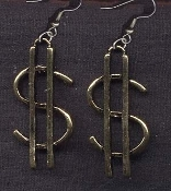 DOLLAR SIGN EARRINGS - Cash Money Bank Teller Novelty - Jewelry - Large Gold-tone