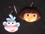 DORA the EXPLORER & BOOTS DANGLE EARRINGS - Huge TV Cartoon Jewelry