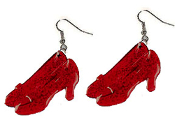 Wizard of Oz - RUBY SLIPPERS FUNKY EARRINGS - Dorothy Gale Novelty Jewelry - BIG translucent RED glitter plastic charms. Follow the Yellow Brick Road. Somewhere Over-the-Rainbow, There's No Place Like Home. You're not in Kansas anymore!