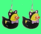 Cute DUCKY BLACK KITTY CAT EARRINGS - Halloween Trick-or-Treat Costume Party Jewelry