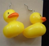 HUGE Funky Yellow DUCKY EARRINGS - Swimming Bath-time Bird Costume Jewelry - Big hard plastic hollow duck charms. Rubber Ducky, you're the one. You make bathtime lots of fun. Sesame Street inspired bathroom charm. I'm awfully fond of you!