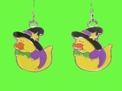 Cute DUCKY WITCH EARRINGS - Halloween Trick-or-Treat Costume Party Jewelry