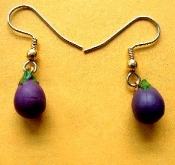 Eggplant Squash Earrings - Realistic, Miniature Rubbery Plastic, Garden Farm Farmer Vegetable Soup Charm. Approx. 1/2-inch Long. ''Eat your Veggies!''