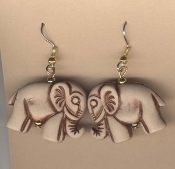 Funky ELEPHANT EARRINGS - Faux CLAY BONE-Look - VET Zoo - Lucky Trunk Up - Novelty Animal Charm Costume Jewelry. Plastic Charms look like Clay or Antiqued Bone, each approx. 1-inch (2.5cm) long.