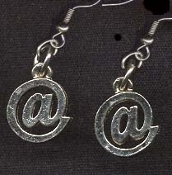 EMAIL ADDRESS @ AT SIGN EARRINGS - Internet Computer Novelty Jewelry - Tiny pewter e-mail charm