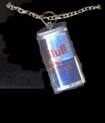 ENERGY DRINK PENDANT NECKLACE-RED BULL Sports Can Charm Jewelry