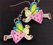 FAIRY PRINCESS WOOD DANGLE EARRINGS - Colorful Fairytale Girl Charm Jewelry
