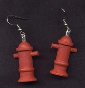 Big Novelty FIRE PLUG HYDRANT EARRINGS - Fire Fighter Fireman Dalmation Dog Jewelry