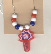Funky FIRECRACKERS PENDANT NECKLACE - Fireworks Patriotic Summer Holiday Picnic Novelty Costume Jewelry-Celebrate INDEPENDENCE DAY party spirit, not just July Fourth-Charm surrounded by Red White Blue beads. Have a Bang!