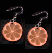 FRUIT SLICE ORANGE EARRINGS - Summer Luau Party Drink Juice Jewelry