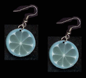 FRUIT SLICE BLUE CITRUS EARRINGS - Summer Luau Party Drink Juice Jewelry