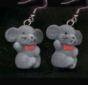 FUZZY GRAY MOUSE EARRINGS - 3-D Baby Mice Cat Animal Charm Jewelry