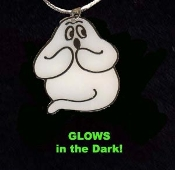 GHOST GLOW PENDANT NECKLACE-Punk Halloween Costume Funky Jewelry