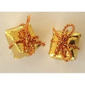 Tiny 3-d GIFT PACKAGE BUTTON EARRINGS - Christmas or Anniversary Jewelry - GOLD