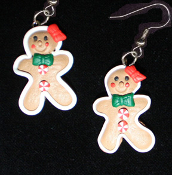 Funky GINGERBREAD MAN GIRL EARRINGS - Christmas Cookie Dessert Jewelry