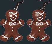 Funky Huge GINGERBREAD MAN COOKIE EARRINGS - Christmas Food Dessert Jewelry