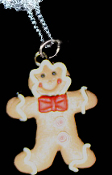 Funky Faux GINGERBREAD MAN BOW TIE PENDANT NECKLACE - Cute Traditional Holiday Cookies Treat Christmas Fun Food Novelty Costume Charm Jewelry - Yummy realistic icing on golden-brown dimensional clay dough ginger bread person.