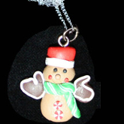 GINGERBREAD MAN NECKLACE-MITTEN-Holiday Cookies Fun Food Jewelry