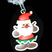 GINGERBREAD MAN SANTA PENDANT NECKLACE-Holiday Cookie Jewelry