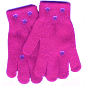 Washable Womens Girls Rhinestone Winter Dress MAGIC-Stretch GLOVES -DARK PINK- Rhinestone shapes and colors may vary.