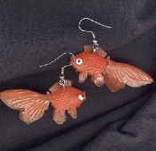 Funky Tropical GOLDFISH KOI EARRINGS - Funky Beach, Pond, Gold Fish, Toy Charm Jewelry - CLASSIC ORANGE - Swimmer, Swim Team, Scuba Diver, Luau, Pool Party, Fishing - Rubbery Plastic Charms, each 2-inch (5cm) long.