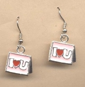 "Valentine's Day Charm EARRINGS - HEART ""I Love You"" Jewelry -L"
