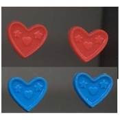 HEART BUTTON EARRINGS -2-pair- Valentine's Day Jewelry - BLUE-RED