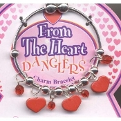HEART CHARM BRACELET - BEST FRIENDS - Love Gift Jewelry -RED
