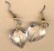 Vintage HEART EARRINGS - Faceted Faux Crystal HEARTS Love Jewelry