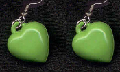 HEART GREEN PASTEL EARRINGS - Cute Valentines Day Love Charm Jewelry