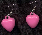 HEART DARK PINK PASTEL EARRINGS - Cute Valentines Day Love Charm Jewelry