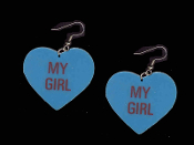 "HEART ""MY GIRL"" EARRINGS - HUGE Valentine's Day Novelty Conversation Hearts Love Jewelry"