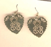 Vintage Filigree TEDDY BEAR HEART EARRINGS - Brass Love Charm Jewelry -GOLD