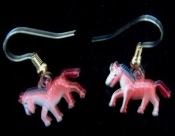 HORSE EARRINGS - Tiny Vintage, Enamelled Metal, Equestrian Charms