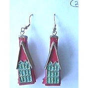 HOUSE Glitter EARRINGS - Realtor Charm - Country Home - Realty Jewelry -B
