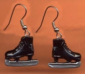 Funky ICE SKATES EARRINGS - Miniature Skating Hockey Team Figure Skate Sports Pewter Charm Costume Jewelry - BLACK – Approx 3/4 inch (1.88cm) *Color options at additional charge: *WHITE, RED, KELLY GREEN, ROYAL BLUE, PINK, SILVER, YELLOW, PURPLE