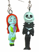 Funky JACK SKELLINGTON and SALLY EARRINGS - Nightmare Before Christmas - Gothic Punk Boyfriend Girlfriend Monster Couple Skeleton Duo Halloween Costume Jewelry Mismatched Pair Mini Figures.