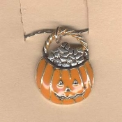 JACK-O-LANTERN PAIL NECKLACE-Pumpkin Charm Halloween Jewelry-Pwt