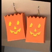 JACK-O-LANTERN TREAT BAG LUMINARY EARRINGS - 3-d Plastic Smile Face Halloween Pumpkin Jewelry