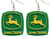 Huge JOHN DEERE LOGO EARRINGS - Authentic farmer charm jewelry