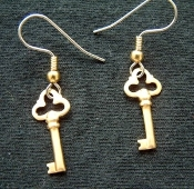 Mini Brass KEYS EARRINGS - Gold House Key Charm Jewelry