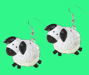 Huge Toy LAMB SHEEP EARRINGS - Country Farm Animal Novelty Toy Charm Jewelry